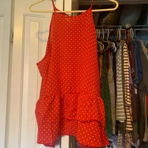 Charming Charlie Red and White Polka Dot Tank Top